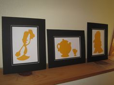 Gift idea for Trista - Belle (Beauty & the Beast) Silhouettes (GOLD) - Set of 6. $65.00, via Etsy.