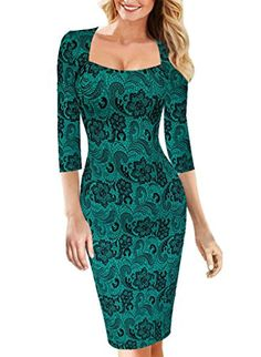 """VfEmage Womens Sexy Elegant Vintage Floral Flower Print Bodycon Pencil Dress 2019 Green 12. Our size is one size smaller than that of the US local brands like """"Nordstrom"""". To prevent the size issue, please refer to our detail size information (bust/waist/hip size) below the product description before order. Thanks!. Material:95%Polyester+5%Spandex (it has lining). Garment Care:Machine Washable. """"VfEmage"""" Trademark is registered on Amazon.The """"Vfemage"""" brand belongs to seller..."""
