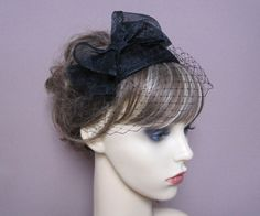 black sinamay teardrop fascinator hat with bow & by LisLarsonHats