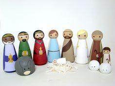 Nativity Set - 13 pc Wood Peg Doll/People Nativity Set Hand Painted