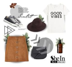 """""""Stylish Fedora Hat - SheIn contest"""" by lil-girl23 ❤ liked on Polyvore featuring Nearly Natural, Tommy Hilfiger, Soaked in Luxury, Kate Spade and Converse"""