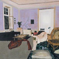 "Hangover by Mamma Andersson, 2008, oil on panel in two parts, 62 x 140 cm (24 1/2 x 55"") 