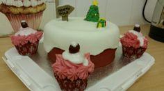 Christmas cake with choc cherry cupcakes