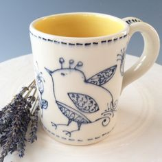 Handmade Porcelain Stoneware Coffee or Tea Mug from the BIRDY SERIES, bright yellow inside on Etsy, $30.00