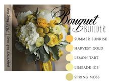 Summer sunrise, harvest gold, lemon tart, limeade ice, spring moss (4-Shades-of-Yellow-Bouquet)