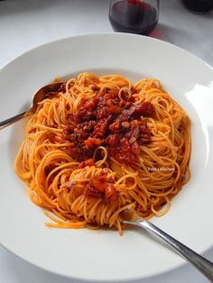 Pasta perfection with spicy red wine sauce and bacon via by foodandwine Greek Recipes, Wine Recipes, English Food, Wine Sauce, Red Wine, Spicy, Bacon, Spaghetti, Food And Drink