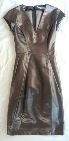 YVES SAINT LAURENT YSL METALLIC CAP SLEEVE DRESS on www.fullcirclefashion.com #YVESSAINTLAURENT