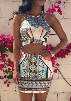 Multicolor Patchwork Geometric Cut Out 2-in-1 Round Neck Mini Dress
