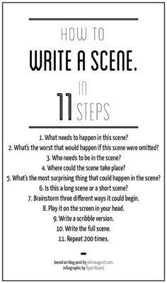 How to write a scene - writers write writing tips, writing prompts Creative Writing Tips, Book Writing Tips, Writing Process, Writing Resources, Writing Help, Writing Skills, Writing A Novel, Writing Ideas, Creative Writing Inspiration