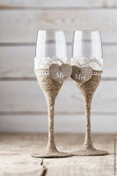 Свадебные аксессуары ручной работы. Ярмарка Мастеров - ручная работа. Купить Свадебные бокалы. Handmade. Бежевый, свадьба, рустикальный стиль