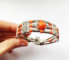 Orange & Tibetan Silver Bangle Bracelet £3.50