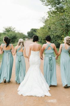 Seafoam wrap bridesmaid dresses | SouthBound Bride | http://www.southboundbride.com/contemporary-rustic-wedding-at-zakopane-country-lodge-by-louise-vorster-nadea-riaan | Credit: Louise Vorster