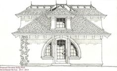 Side Elevation of Backyard Artist's Studio.designed by David McTyre.Rendered at scale in Pen & Ink on Watercolor Paper with Graphite Pencil Washes. Original Image Size is x Cottage House Plans, Small House Plans, Cottage Homes, Building Rendering, Shingle Style Homes, Hand Drawings, Small Buildings, Small House Design, House Art