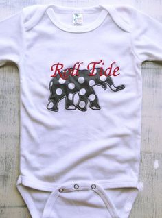 University of Alabama monogrammed elephant baby onesie with Roll Tide