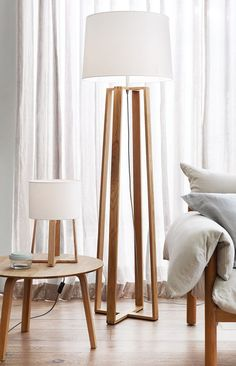 The Beacon Lighting Copenhagen Scandinavian inspired floor lamp in teak