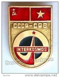 INTERKOSMOS: international space flight Soviet Union - Vietnam socialist republic/ old soviet badge USSR _s8571 - Delcampe.com