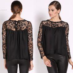 >> Click to Buy << Women's Blouses Fashion Casual Woman Lace Shirt Chiffon Blouses Women Tops White Black Hallow-out Sheer Blusas #Affiliate