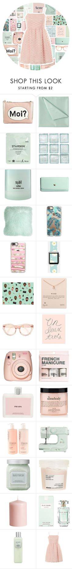 """Pretty"" by stelbell ❤ liked on Polyvore featuring M&S, Simmons, Starskin, själ, Pillow Decor, Casetify, Dogeared, Rifle Paper Co, Fujifilm and Prada"