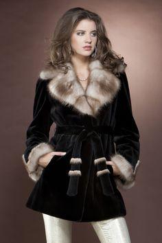 Anamoda Black Mink Fur Coat | Anamoda Fur Coats | MLFurs.com