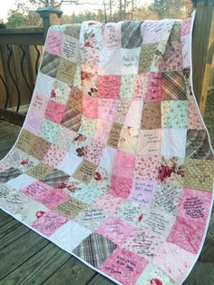 This is a very unique guest book idea that you will use whenever it's cold outside! Have your guest sign a quilt!