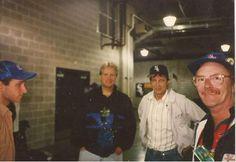 Tom & Dennis Hogensen on the right, Nick Palumbo on the left, and I forgot the name of the other guy. September 15, 1996. Outside the U.S. Cellular field vendor's room.