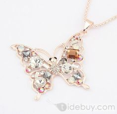 Bright Butterly Shaped Alloy with Rhinestone Lady's Necklace