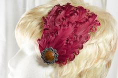 Wine red curled duck feather fascinator by MAsMadHouse on Etsy, $17.99  www.etsy.com/shop/masmadhouse
