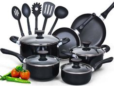 15 Piece Soft handle Cookware set includes covered dutch oven 5-quart, covered casserole 3-quart, covered sauce pan 1-quart, covered sauce pan 2-quart, fry pan 8-inch, fry pan 10-inch and 5-piece nylon tools, handle is soft with anti slip design for comfortable handling. Quality Giant Ketogenic... more details available at https://www.kitchen-dining.com/blog/cookware/product-review-for-cook-n-home-15-piece-non-stick-black-soft-handle-cookware-set/