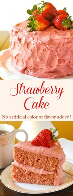 """Strawberry Cake – there is no artificial colouring or flavouring used to get the beautiful pink hues in this delicious, made from scratch, strawberry cake."""