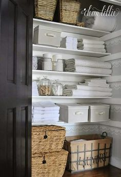 find this pin and more on blissfully domestic - Bathroom Closet Organization Ideas