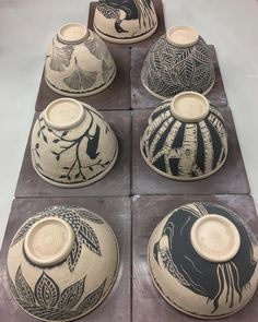 7. WHY 7? #sgraffitopottery #sgraffito #upallnight #carvedclay #pottery #potterslife #potterybowls #pottersofinstagram #ceramics…