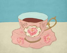 vintage tea cup illustration by HummingBoxStudios, via Flickr