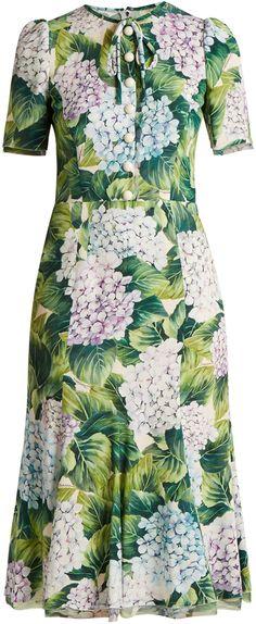 DOLCE & GABBANA Hydrangea-print fluted-hem cady dress