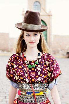 Spring Fashion Trend: Global Mix | TeenVogue.com May 2009, Peru | Isabel Marant dress. Nicole Farhi blouse. Venna necklace. Philosophy di Alberta Ferretti jeweled belt. Mulicolored belt from a Peruvian market.