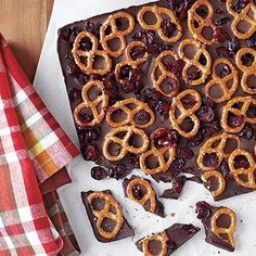 Dark Chocolate Bark with Pretzels and Dried Cranberries - MyRecipes