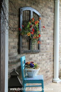 Check out this Thrifty chair makeover for seasonal porch. Make a fun and very inexpensive welcome! The post Thrifty chair makeover for seasonal porch. Make a fun and very inexpensive welco… appeare . Outdoor Walls, Outdoor Living, Outdoor Wall Art, Outdoor Rooms, Vintage Windows, Chair Makeover, Door Makeover, Furniture Makeover, Front Door Decor