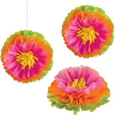 Hibiscus Flower Luau Tissue Decorations are the ideal decorative accent for a luau, pool party, or tropical birthday celebration.  Each package contains 3 tissue paper decorations designed in the shape of fluffy hibiscus flowers featuring green, orange, pink, and yellow details each measuring approximately 16 inches in diameter.  Hang the tissue decorations from walls, windows, porches, and ceilings or set them directly on the tables for eye-catching centerpiece displays.