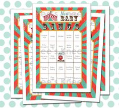 Circus Baby Shower Bingo Printable Carnival by beeskneesdesignshop