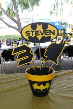 Batman birthday party centerpieces! See more party planning ideas at CatchMyParty.com!