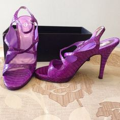 Gorgeous pair of purple snake imposed sandals 3x cross over feet for beauty and support  Joey Shoes Sandals