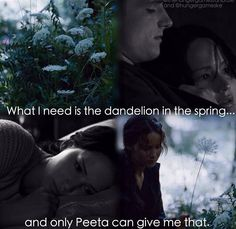 """What I need to survive is not Gale's fire, kindled with rage and hatred. I have plenty of fire myself. What I need is the dandelion in the spring. The bright yellow that means rebirth instead of destruction. The promise that life can go on, no matter how bad our losses. That it can be good again. And only Peeta can give me that."""