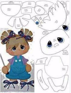 *FELT ART ~ Little Girl Template - Use for paper piecing, foam, felt. >Lots of templates on this site! Scrapbook Patterns, Scrapbook Embellishments, Paper Piecing Patterns, Felt Patterns, Felt Dolls, Paper Dolls, Scrapbooking Layouts, Scrapbook Paper, Foam Crafts