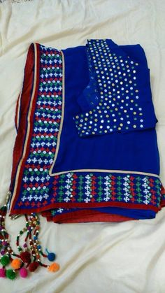 Kutchi embroidered saree