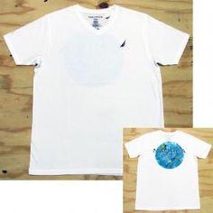 Nautica Mens White V-neck Tee Shirt with Deep Sea Reef Back