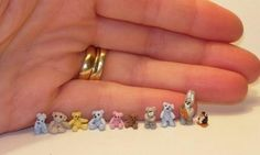 1\/144 scale dolls house micro set of teddy bears with bunny and penguin ...  etsy.com