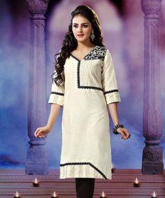 Viva N Diva Off White Color Khadi Cotton Kurti