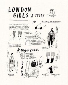 London Girls, Art Sketchbook, Zine, Art Inspo, Illustration Art, London Illustration, Giclee Print, Art Drawings, Sketches