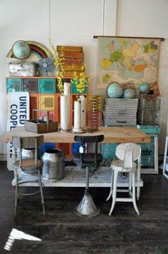 My vintage/repurposed dream come true. I like the maps and globes in this display -- Rescued Junk at Old Crow Farm, Earlham, IA Vintage School Decor, Vintage Home Decor, Vintage Ideas, Vintage Props, Old School Style, School Stuff, Butcher Block Tables, Vintage Globe, Flea Market Style