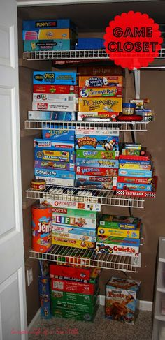 Simple Life of a Fire Wife: Board Game Craze! Board Game Organization, Toy Room Organization, Board Game Storage, Closet Storage, Toy Storage, Storage Shelves, Storage Ideas, Small Storage, Storage Room