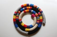 3 crochet tubular necklaces with magnetic closure